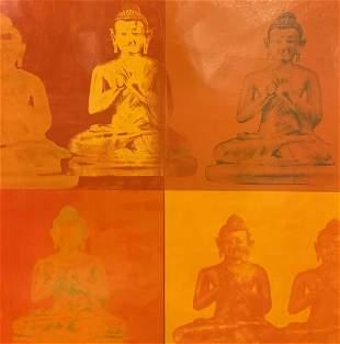 Offset Lithograph of Buddha Statues, Artwork
