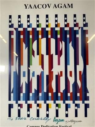 YAACOV AGAM Signed Art Poster