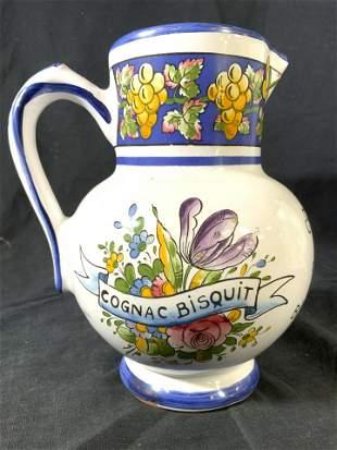 French Porcelain Cognac Bisquit Porcelain Pitcher
