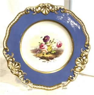 Porcelain Plate W Floral Detail & Ornate Rim