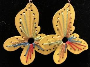 Vntg Yellow Artisan Butterfly Earrings