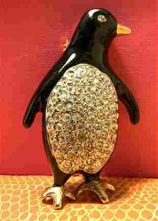 Enamel Crystal Penguin Brooch Jewelry