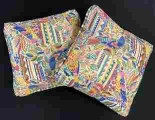 Pair Throw Pillows, Tropical Motif