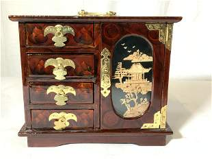Chinese Lacquer Jewelry Box Brass Etched Handles