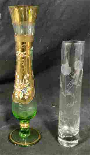 Group Lot 2 Glass Bud Vases