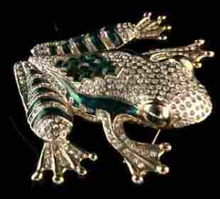 Statement Crystal Encrusted Frog Brooch