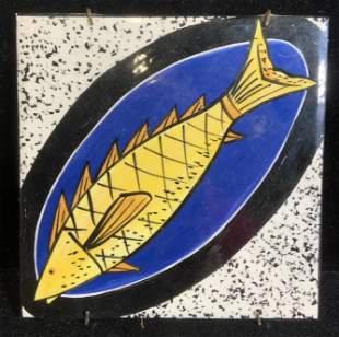 Signed Artist, Hand Painted Ceramic Fish Tile
