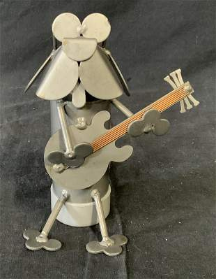 Scrap Metal Sculpture of Dog Playing Guitar