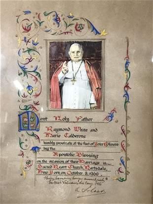 Framed Apostolic Blessing, Gouache & Marker