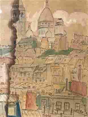 Signed Watercolor, City Scene