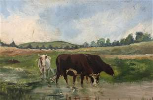 M.B.MILLER Signed Oil on Board Cows in Field 1910
