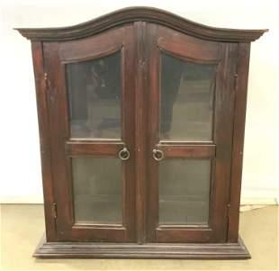 Vintage Carved Wooden Windowed Display Cabinet