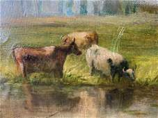 Oil Painting of Landscape with Cows Artwork