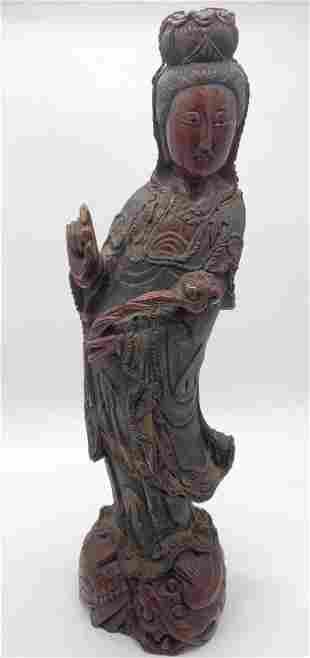 Chinese Hand Carved Wooden Figural