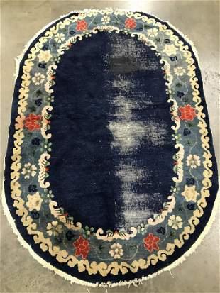 Vintage Oval Handmade Chinese Art Deco Rug