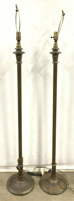 Pair Vintage Floor Lamp W Weighted Base
