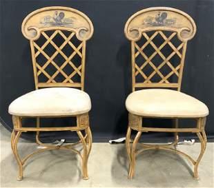 Pair Vintage Splat Back Metal Side Chairs