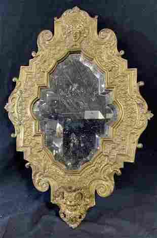Baroque Repoussé Brass Mirror