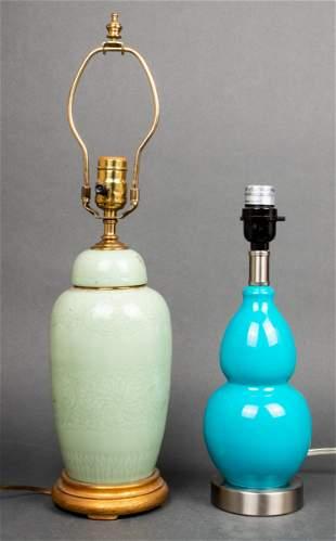 Asian Ceramic Lamps Incl. Celadon, 2