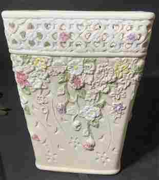 Floral Victorian Style Porcelain Flower Pot