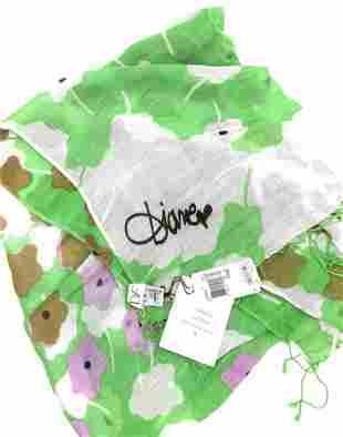 Never Worn DVF Daisy Dance Green Luxury Scarf,