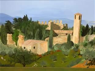 FAUSTINE Signed Oil on Canvas Landscape, Artwork