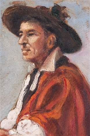 "Spanish School ""Querido Abuelo"" Oil on Canvas"