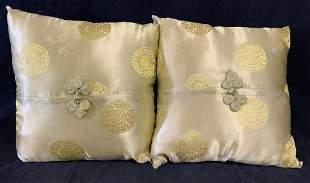 Pair Chinese Silk Pillows