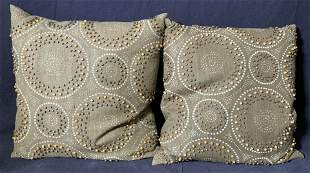 Pair Beaded Dark Green Throw Pillows
