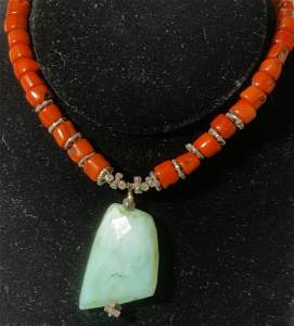 Artisanal Aqua Stone pendant Necklace, Jewelry