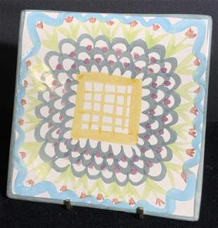 KING FERRY Signed Hand Painted Ceramic Tile