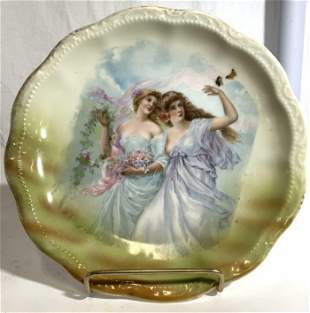 German Porcelain Plate W Female Figures