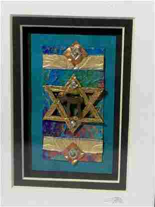 Signed Judaica Framed Mixed Media Paper Art