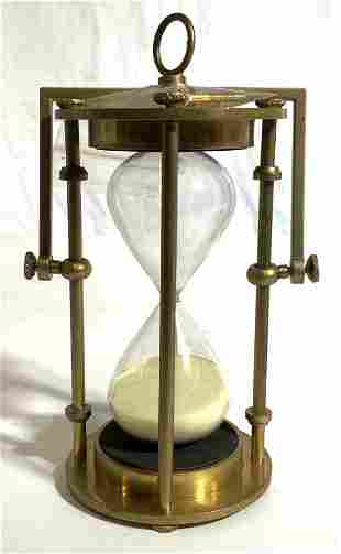 Gold Toned Brass Tabletop Hourglass