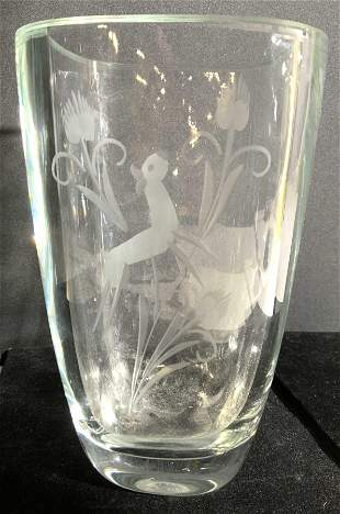 Thick Walled Vase W Frosted Detail