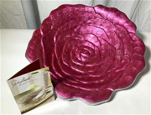 Signed Julia Knight 15 in Rose Centerpiece Bowl