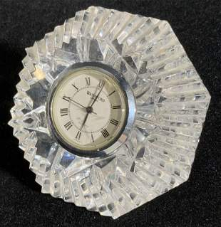 WATERFORD Signed Cut Crystal Quartz Table Clock
