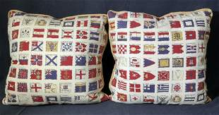 Pair International Flag Throw Pillows