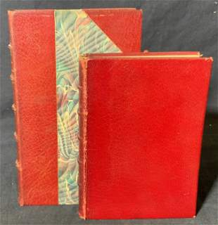 Group Lot 2 Red Leather Bound Books