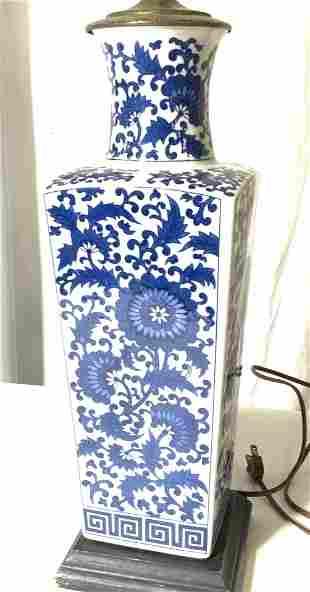 Blue & White Asian Porcelain Lamp