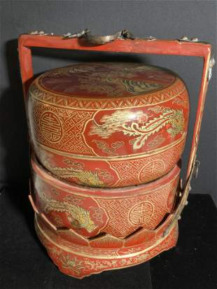 Handcrafted & Painted Wooden Asian Wedding Basket