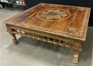 Vintage Moroccan Wooden coffee table w Bone Inlay