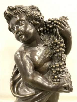 Bronze Cherub Figural Sculpture Holding Grapes