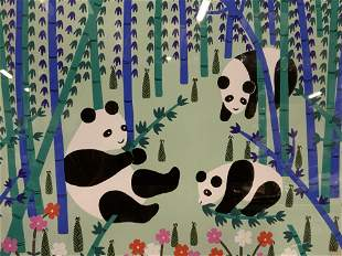 CAO YING LING Chinese Lithograph of Pandas