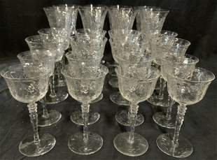 Group Lot 24 Etched Crystal Stemware