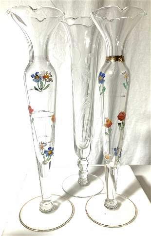 Group Hand Painted Glass Bud Vases