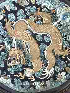Vintage Framed Asian Fabric Tapestry w Dragon