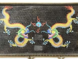 Cloisonn� Dragon & Brass Gallery Tray, Vntg