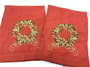 Pair Embroidered Red Linen Holiday Hand Towels