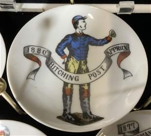 Set 6 Porcelain Aperitif Plates on Brass Stand